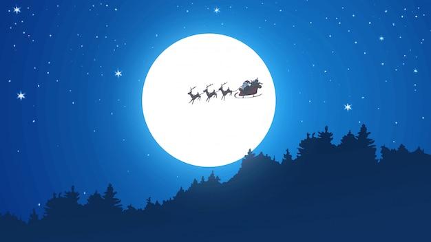 Święty mikołaj jazda na sankach na księżyc noc bożego narodzenia