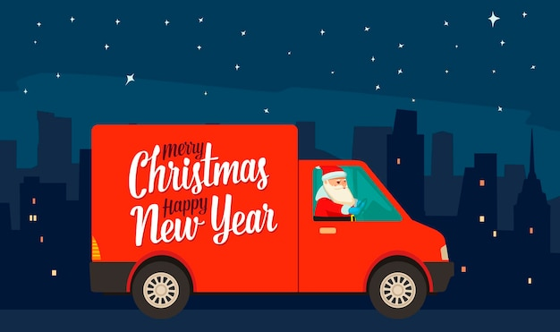 Święty mikołaj jedzie czerwoną furgonetką dostawczą w nocnym mieście. transport towarów towarowych na nowy rok i wesołych świąt. płaskie wektor ilustracja kolor dla plakatu, karty gretting