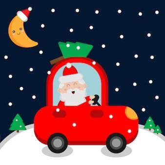 Święty mikołaj jedzie czerwonego samochód z choinką. kartka świąteczna.