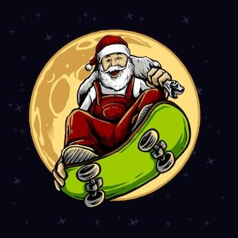 Święty mikołaj jedzie deskorolka z księżyc w pełni ilustracją