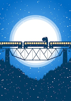 Święty mikołaj jedzie na pociągu na tle księżyca.