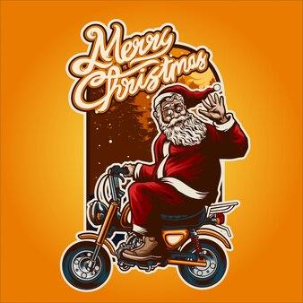 Święty mikołaj jedzie na rowerze