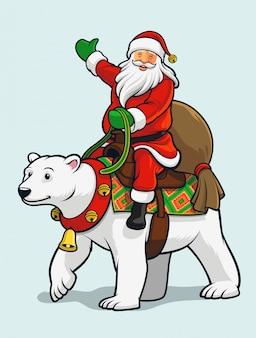 Święty mikołaj jedzie niedźwiedzia polarnego