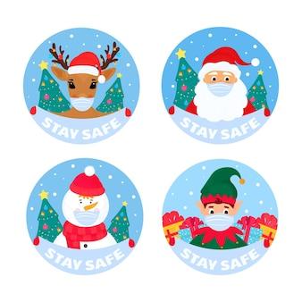 Święty mikołaj, jeleń, bałwan, elf, byk noszą ochronne maski na twarz. zachowaj bezpieczeństwo banerów