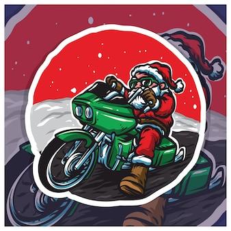 Święty mikołaj jeździ na motocyklu harley badger