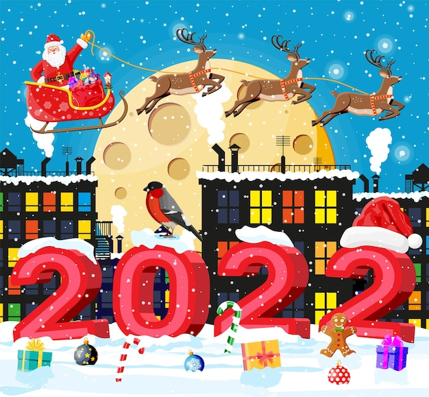 Święty mikołaj jeździ reniferowymi saniami. boże narodzenie zima pejzaż, płatki śniegu, budynki. szczęśliwego nowego roku dekoracja. wesołych świąt bożego narodzenia. obchody nowego roku i bożego narodzenia. ilustracja wektorowa płaski styl