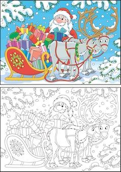 Święty mikołaj ładuje swoje magiczne sanie kreskówkami świątecznymi prezentami