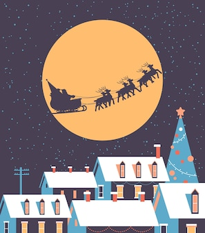 Święty mikołaj latający w saniach z reniferami na nocnym niebie nad zaśnieżoną wioską domy wesołych świąt ferii zimowych koncepcja kartka z pozdrowieniami płaska ilustracja wektorowa