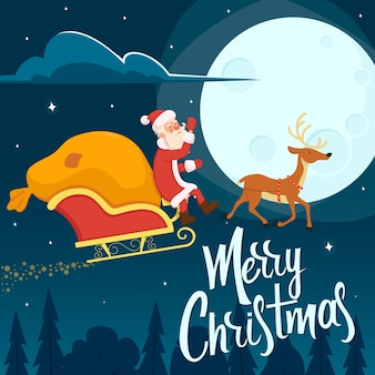 Święty mikołaj leci po nocnym niebie w saniach z torbą prezentów dla dzieci