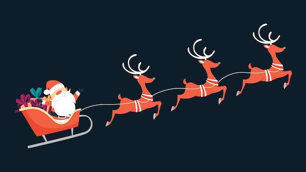 Święty mikołaj leci w saniach z prezentami i reniferami. święta zimowe, boże narodzenie i nowy rok. ilustracja