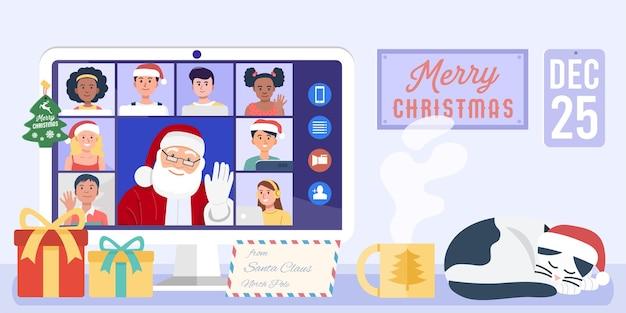 Święty mikołaj mając wideokonferencję na komputerze z dziećmi w domu.