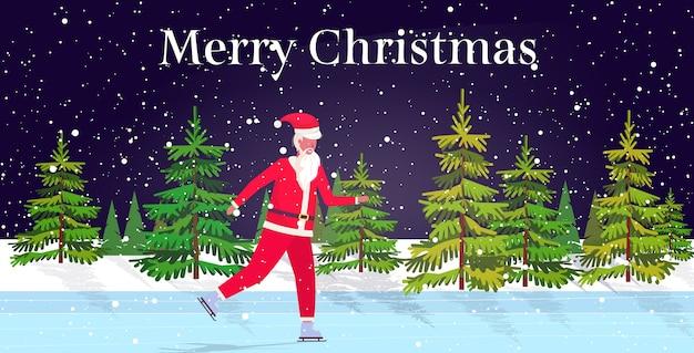 Święty mikołaj na łyżwach po zamarzniętym lodowisku wesołych świąt szczęśliwego nowego roku obchody ferii zimowych