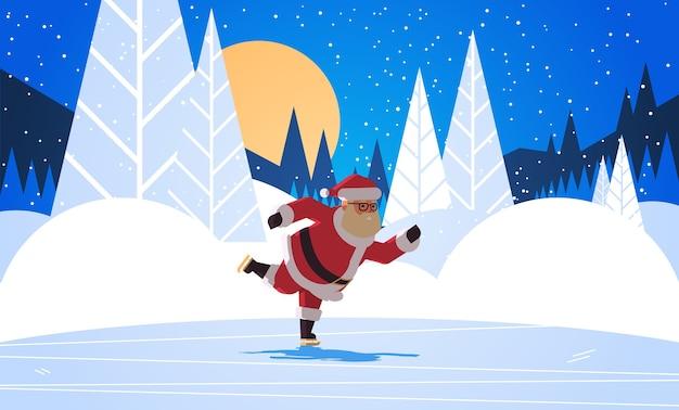 Święty mikołaj na łyżwach wesołych świąt zima wakacje koncepcja noc las pełnia księżyca krajobraz kartka z życzeniami pełnej długości pozioma ilustracja wektorowa
