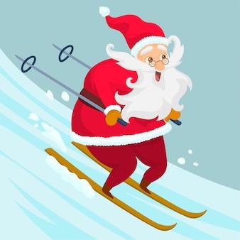Święty mikołaj na nartach