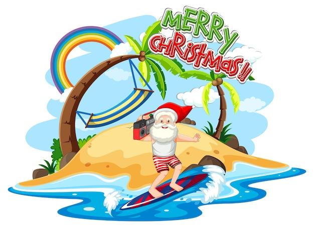Święty mikołaj na plaży na wyspie na letnie boże narodzenie