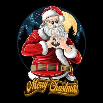 Święty mikołaj na przyjęciu bożonarodzeniowym przedstawiający z rękami symbol miłości