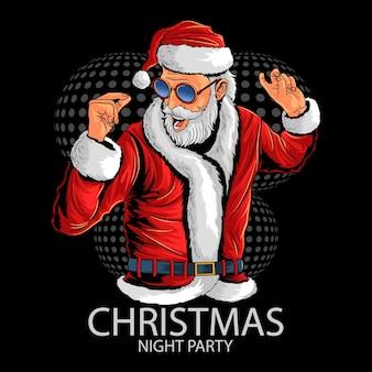 Święty mikołaj na przyjęciu bożonarodzeniowym tańca i muzyki