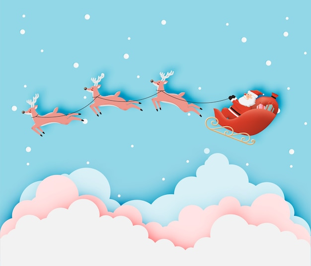 Święty mikołaj na saniach z pięknym niebem w papierowej grafice i pastelowych kolorach