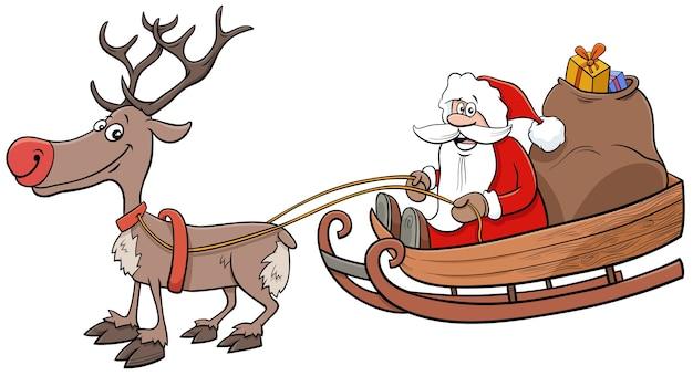Święty mikołaj na saniach z reniferami i prezentami świątecznymi