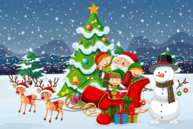 Święty mikołaj na saniach z reniferem i wiele dzieci nosi kostium elfa w śnieżnej scenie