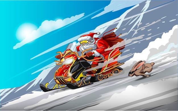 Święty mikołaj na skuterze śnieżnym i króliku. wyścigi na śniegu. szczęśliwego nowego roku. wesołych świąt.