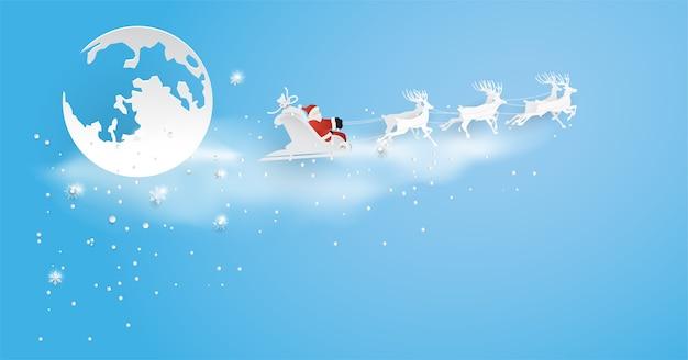 Święty mikołaj nadchodzi do miasta z płatkiem śniegu, księżycem i choinką, wesołych świąt, szczęśliwego nowego roku.