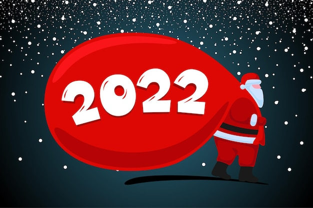 Święty mikołaj nadchodzi i niesie duże ciężkie prezenty, czerwoną torbę boże narodzenie i szczęśliwego nowego roku 2022