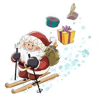 Święty mikołaj niosący prezenty i jazda na nartach