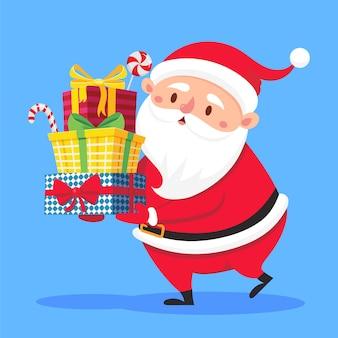 Święty mikołaj niosący prezenty w ręce. zimowe wakacje przedstawia ilustracja kreskówka