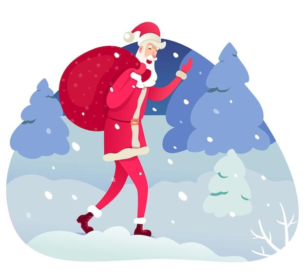 Święty mikołaj niosący worek ilustracja, boże narodzenie, element wakacje nowy rok, postać z kreskówki świętego mikołaja na zimowy krajobraz, bajkowy ojciec mróz na tle lasu.