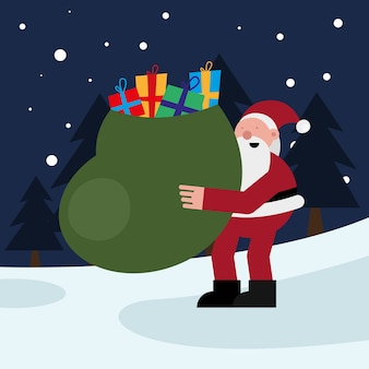 Święty mikołaj podnoszący worek prezentów świąteczna postać wektor ilustracja projekt