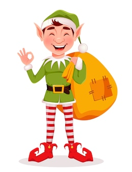 Święty mikołaj pomocnik elf trzyma duży worek