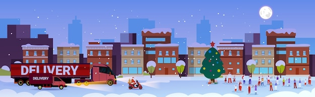 Święty mikołaj prowadzący ciężarówkę dostawczą ludzie bawią się wesołych świąt szczęśliwego nowego roku obchody ferii zimowych
