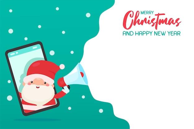 Święty mikołaj przez telefon komórkowy wrzeszczące reklamy z megafonem świąteczne pomysły na promocję