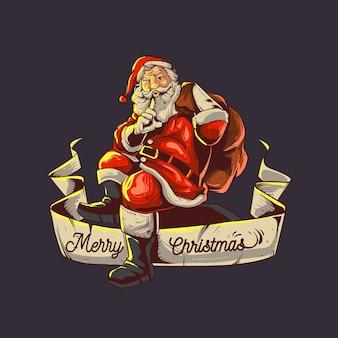 Święty mikołaj przynosi prezent na boże narodzenie