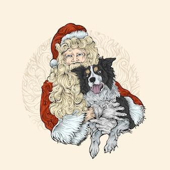 Święty mikołaj przytulanie psa w rysunek ręka kolor ornament