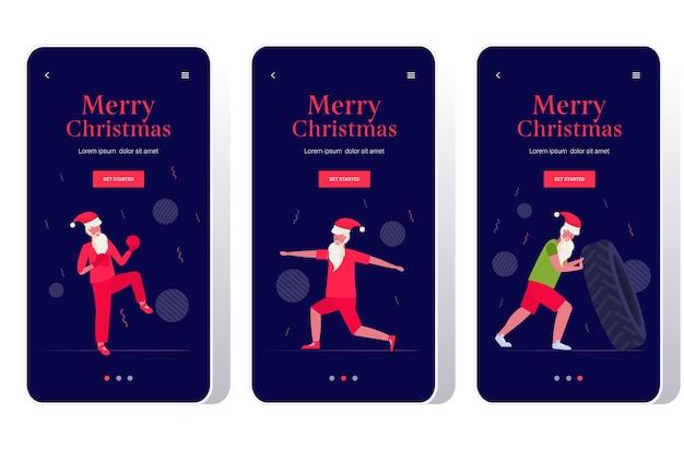 Święty mikołaj robi ćwiczenia fizyczne brodaty mężczyzna trening trening koncepcja zdrowego stylu życia boże narodzenie nowy rok święta uroczystość zestaw ekranów smartfonów