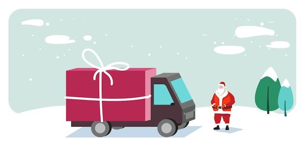 Święty mikołaj schludny ciężarówka z pojemnikiem na prezent wesołych świąt szczęśliwego nowego roku koncepcja uroczystości wakacje kartka z pozdrowieniami pozioma wektorowa ilustracja