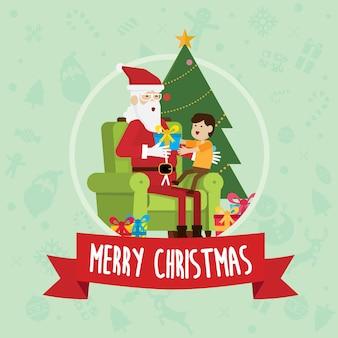Święty mikołaj siedzi z dzieckiem w boże narodzenie dzień wektor.