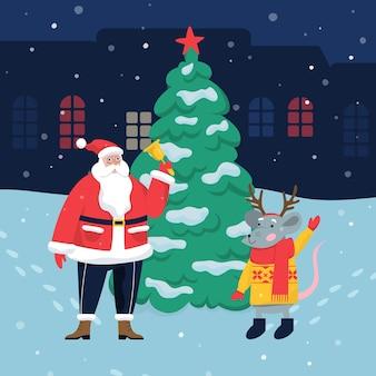 Święty mikołaj stoi przy choince z wielką czerwoną gwiazdą i świątecznym szczurem symbol 2020 roku. święty mikołaj trzyma świąteczny złoty dzwonek. ilustracja kreskówka sezon wakacyjny. obchody bożego narodzenia i nowego roku.