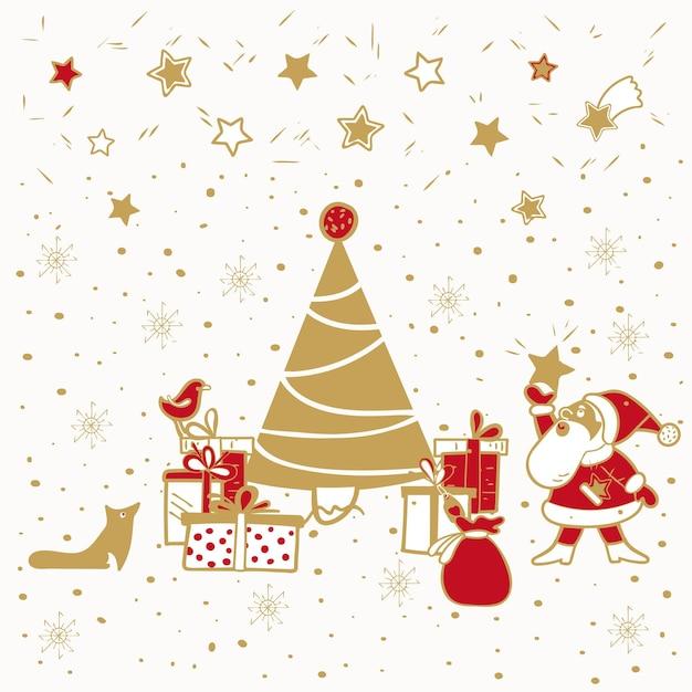Święty mikołaj stoi z prezentami przy choince projekt na boże narodzenie i nowy rok