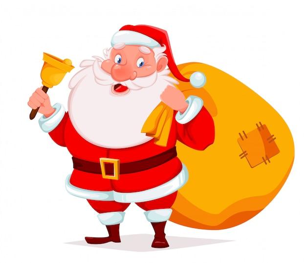 Święty mikołaj trzyma dzwon i worek z prezentami