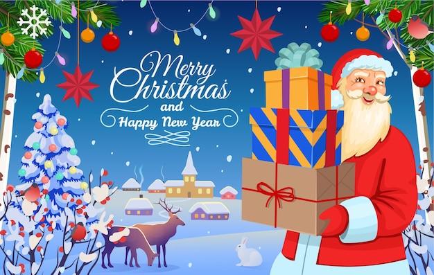 Święty mikołaj trzyma prezenty świąteczne. zimowy krajobraz leśny z jeleniami, królikiem, wioską.