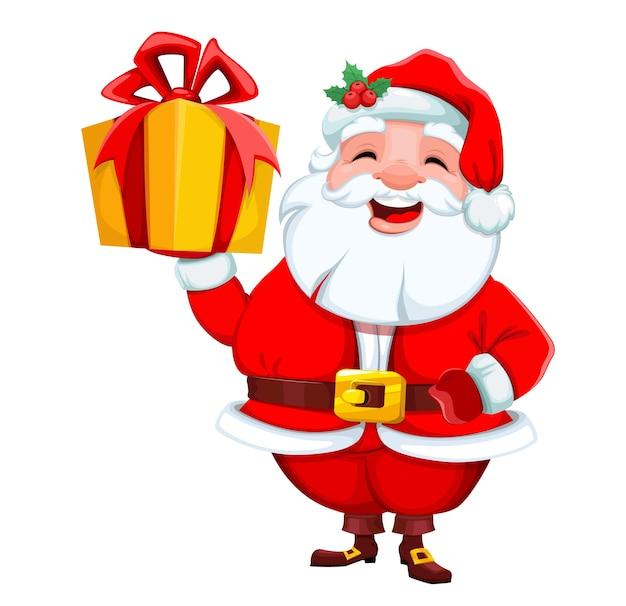 Święty mikołaj trzyma pudełko wesołych świąt i szczęśliwego nowego roku