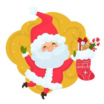 Święty mikołaj trzyma świąteczną skarpetę z prezentami
