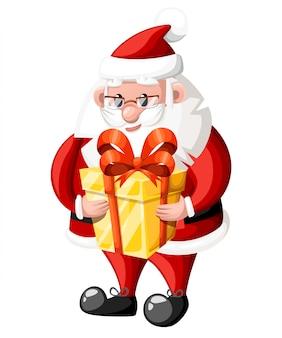 Święty mikołaj trzyma złote pudełko z czerwoną kokardką na białym tle strony internetowej i aplikacji mobilnej