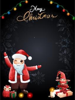 Święty mikołaj uroczy elf, największy prezent wigilijny błogosławieństwa.