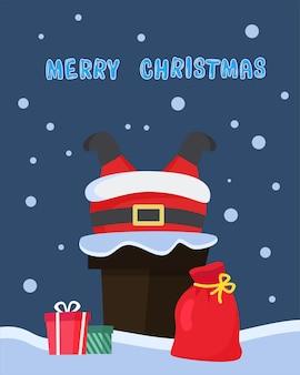 Święty mikołaj utknął w kominie na dachu torba na prezent mikołaj