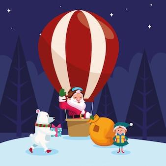 Święty mikołaj w gorące powietrze balonie, niedźwiedź polarny i santas pomagier z prezentów pudełkami nad snoy nocą, kolorowa, ilustracja
