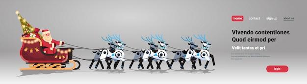 Święty mikołaj w saniach ze sztuczną inteligencją reniferów robotów na boże narodzenie
